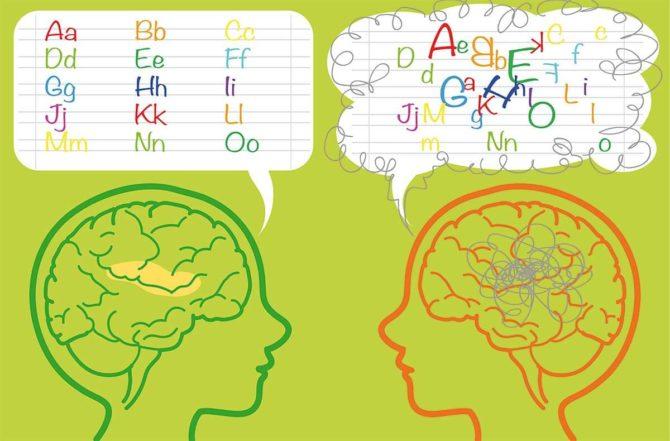 Сравнение здорового ребёнка и дислектика