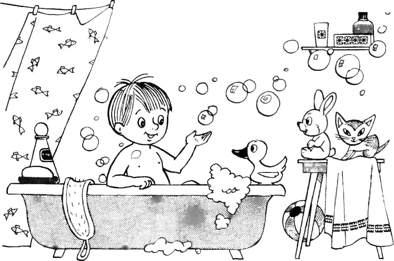 Умывание картинки для детей карандашом