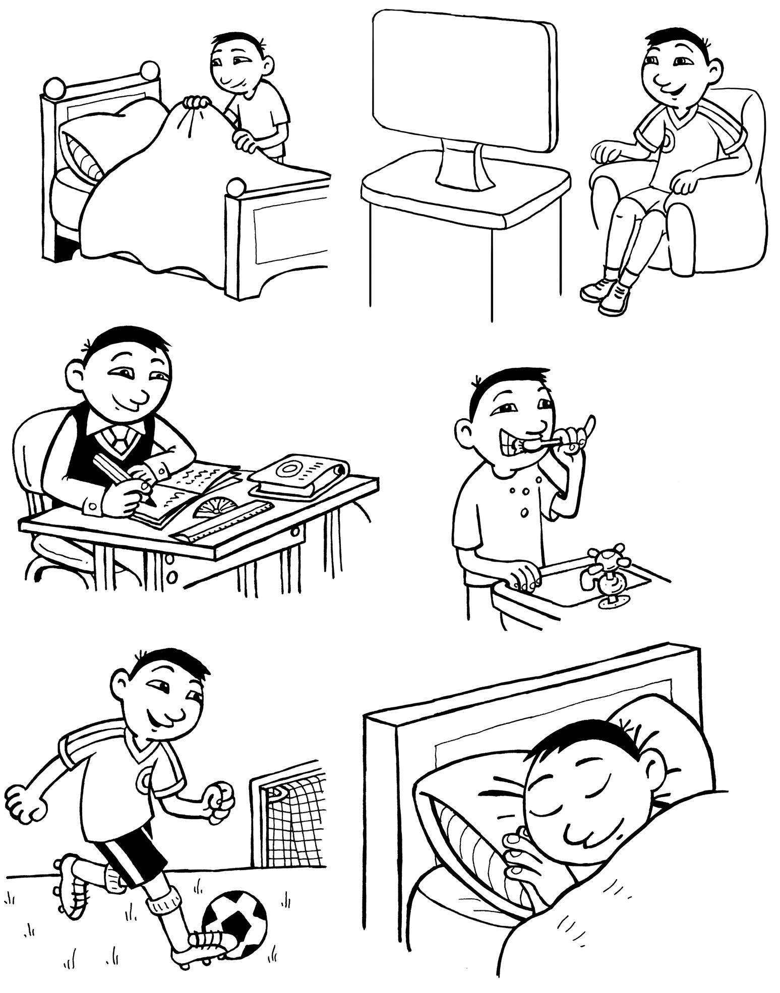 Режим дня школьника раскраски в картинках