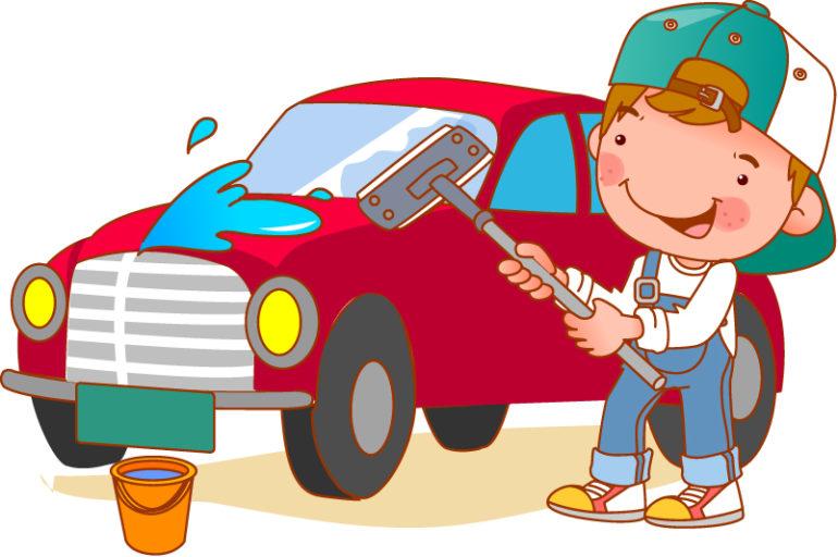 Мальчик моет машину