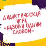 Дидактическая игра «Назови одним словом»
