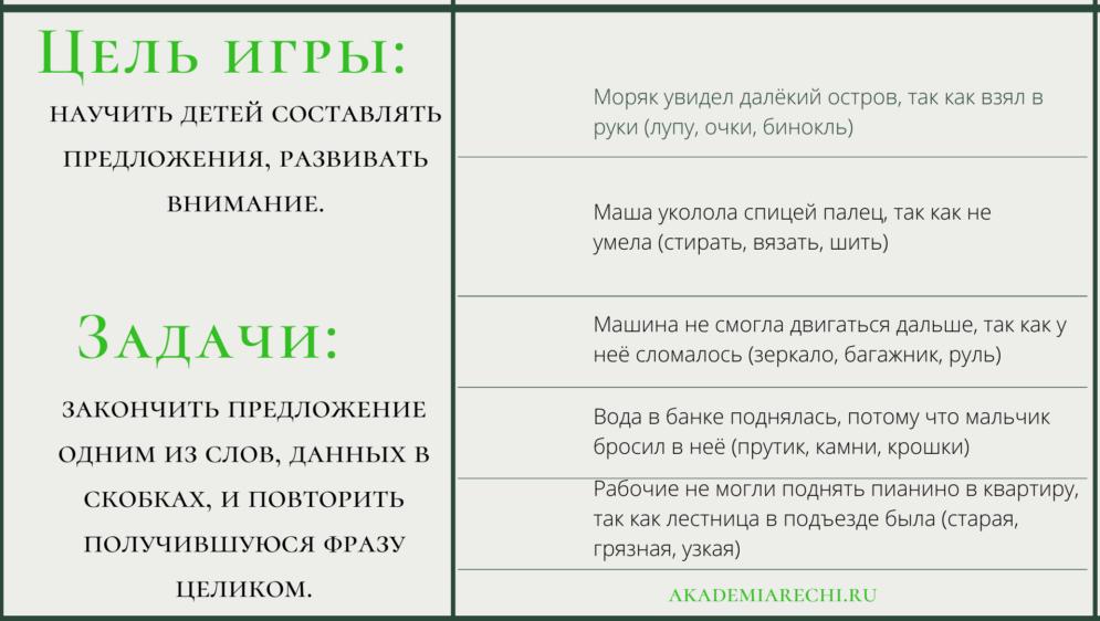 Цель и задачи дидактической игры «Закончи предложение»